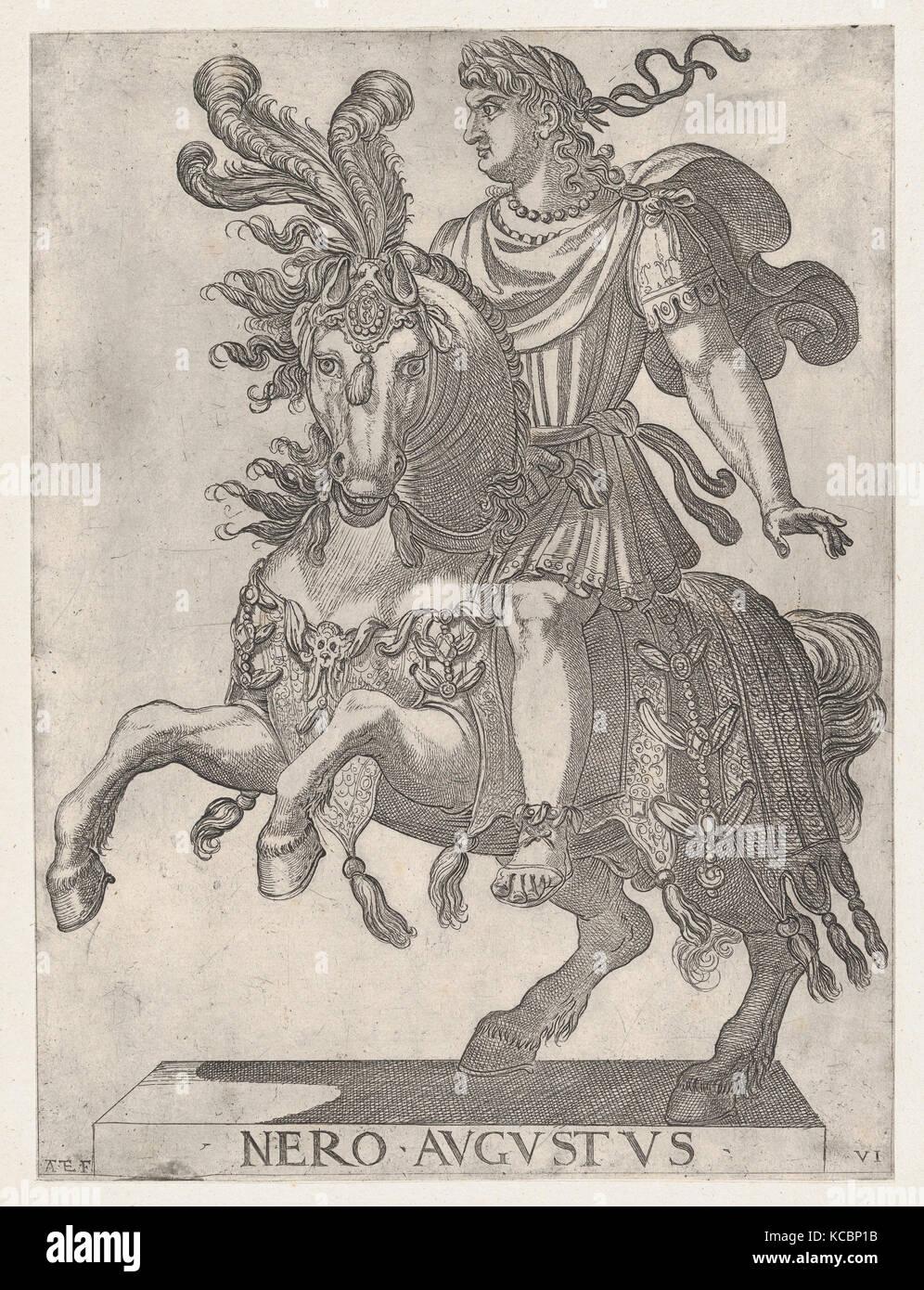 Plate 6: Emperor Nero on Horseback, from ' The First Twelve Roman Caesars', Antonio Tempesta, 1596 - Stock Image