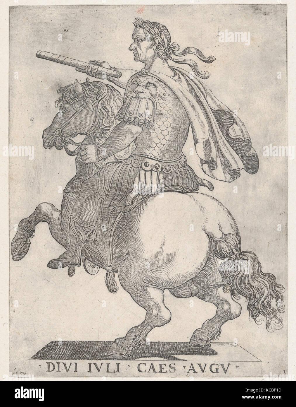 Plate 1: Emperor Julius Caesar on Horseback, from 'The First Twelve Roman Caesars', Antonio Tempesta, 1596 Stock Photo