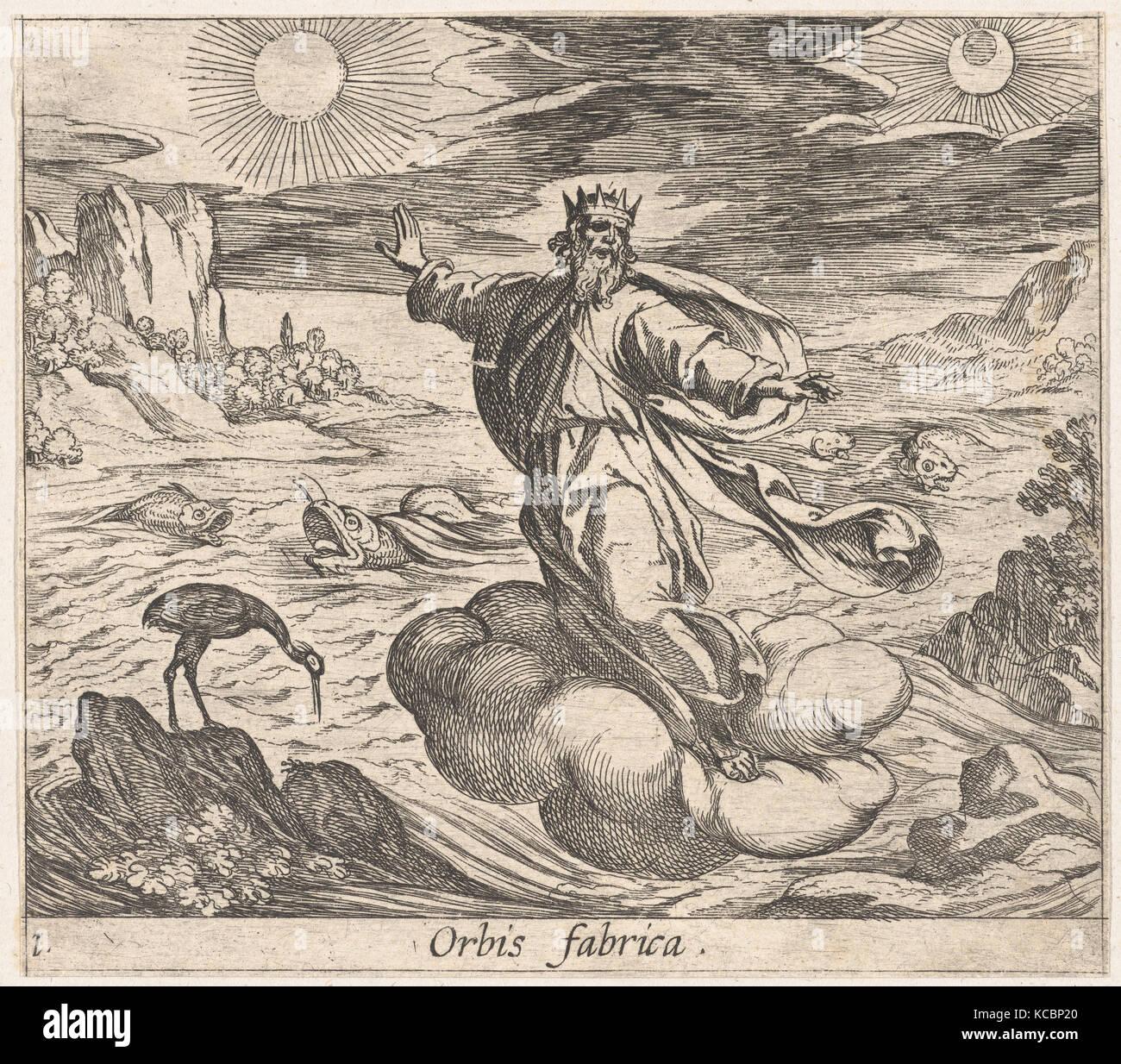 Plate 1: The Creation of the World (Orbis fabrica), from Ovid's 'Metamorphoses', Antonio Tempesta, 1606 - Stock Image