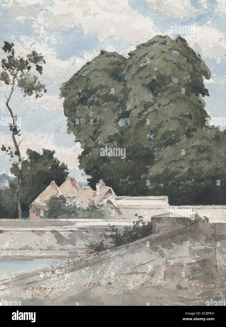 View from the Ramparts at Chartres, Henri-Joseph Harpignies, 1893 - Stock Image
