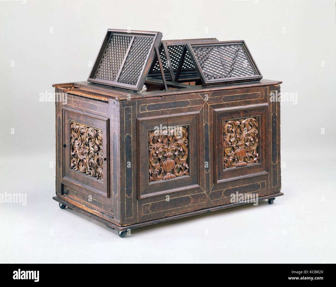 Positive Organ, 17th century, Germany, German, Woods, metal alloys, leather and various materials., L. 162.5 cm - Stock Image