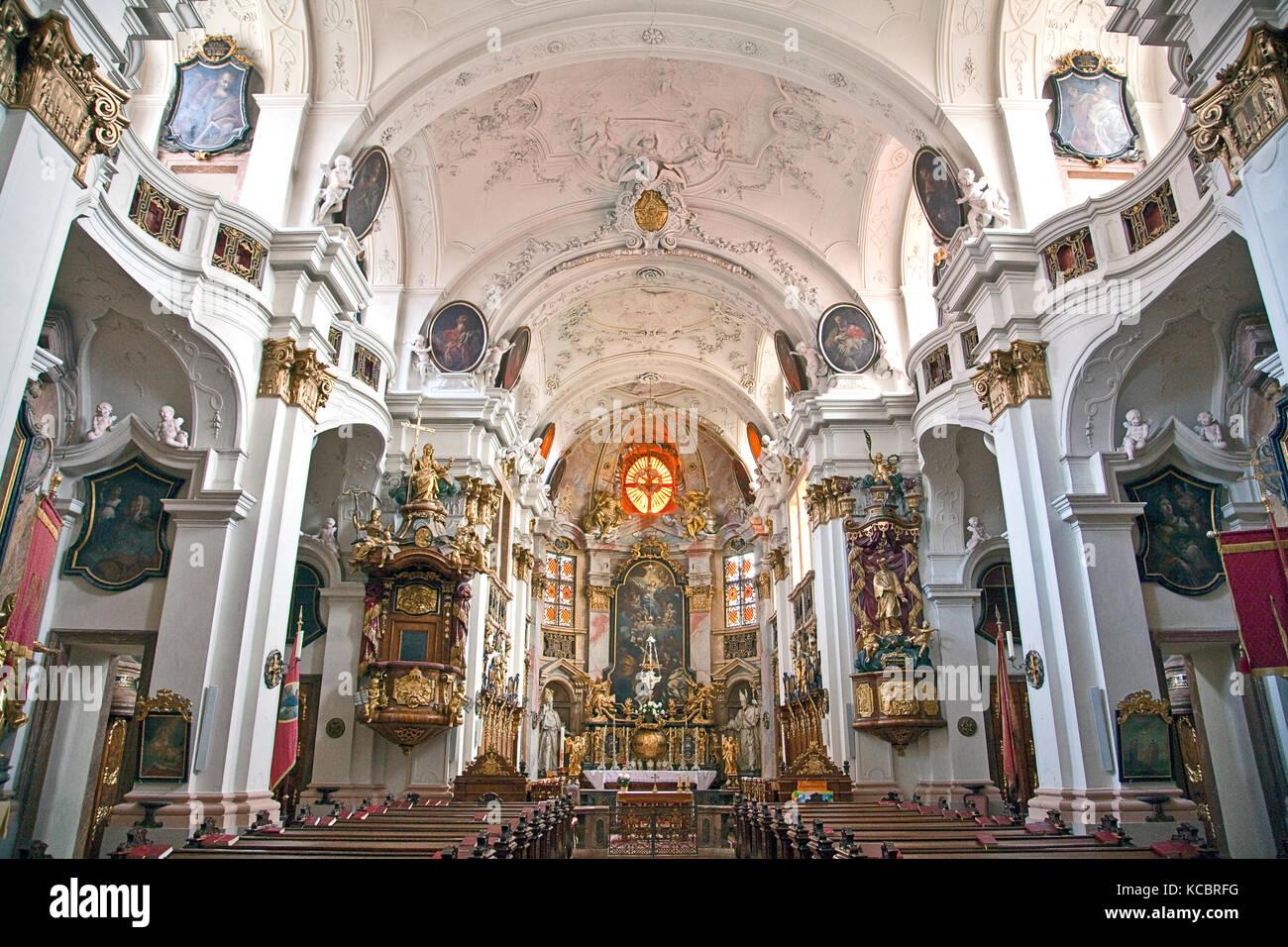 Wachau Valley, Austria:  Interior views of the Durnstein Monastery church, built between 1720-1733 in the baroque - Stock Image