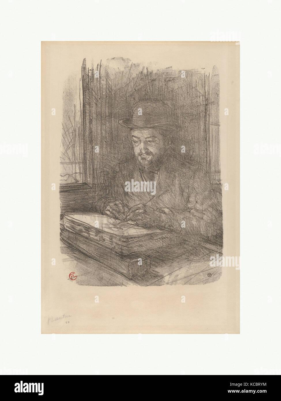 The Master Printmaker:  Adolphe Albert, Henri de Toulouse-Lautrec, 1898 - Stock Image