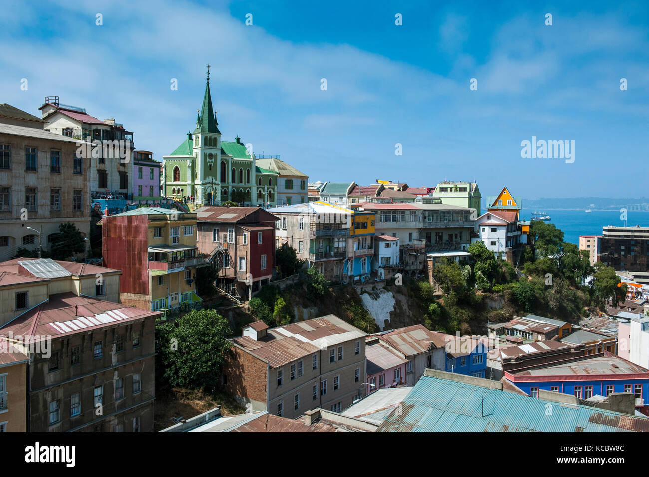 Overlook over colourful houses, Valparaiso , Chile - Stock Image