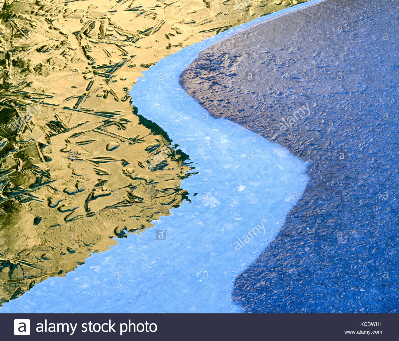 Three Layers of Ice Patterns in the Merced River, Yosemite National Park, California Stock Photo