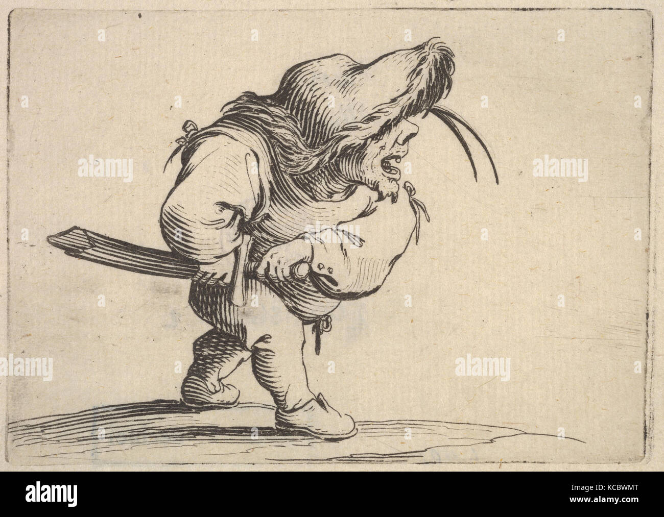 Small male figure stopping to draw his sword, in profile view with open mouth and left foot positioned forward - Stock Image
