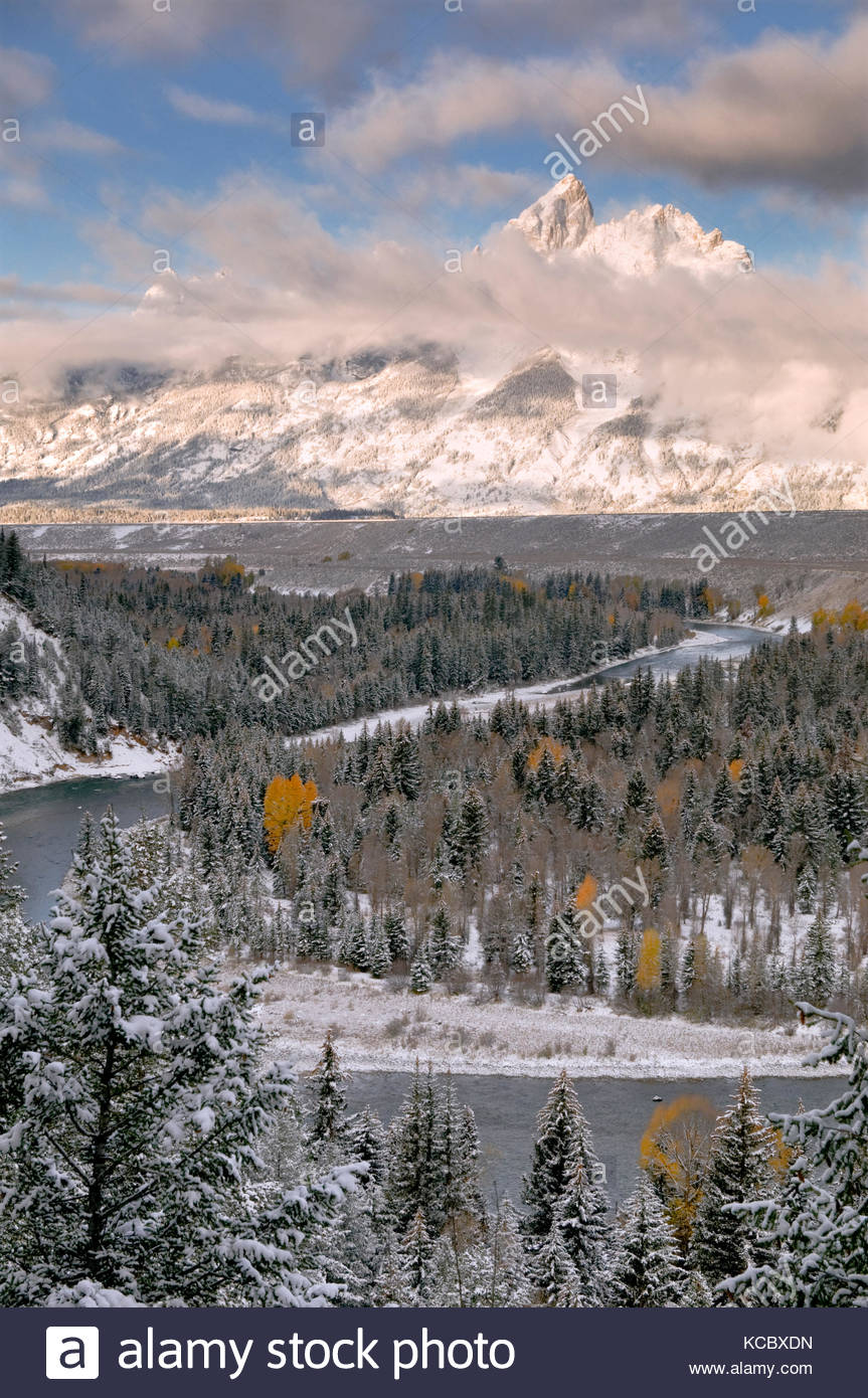 Clearing Winter Storm at Sunrise, Snake River Overlook, Grand Teton National Park, Wyoming - Stock Image