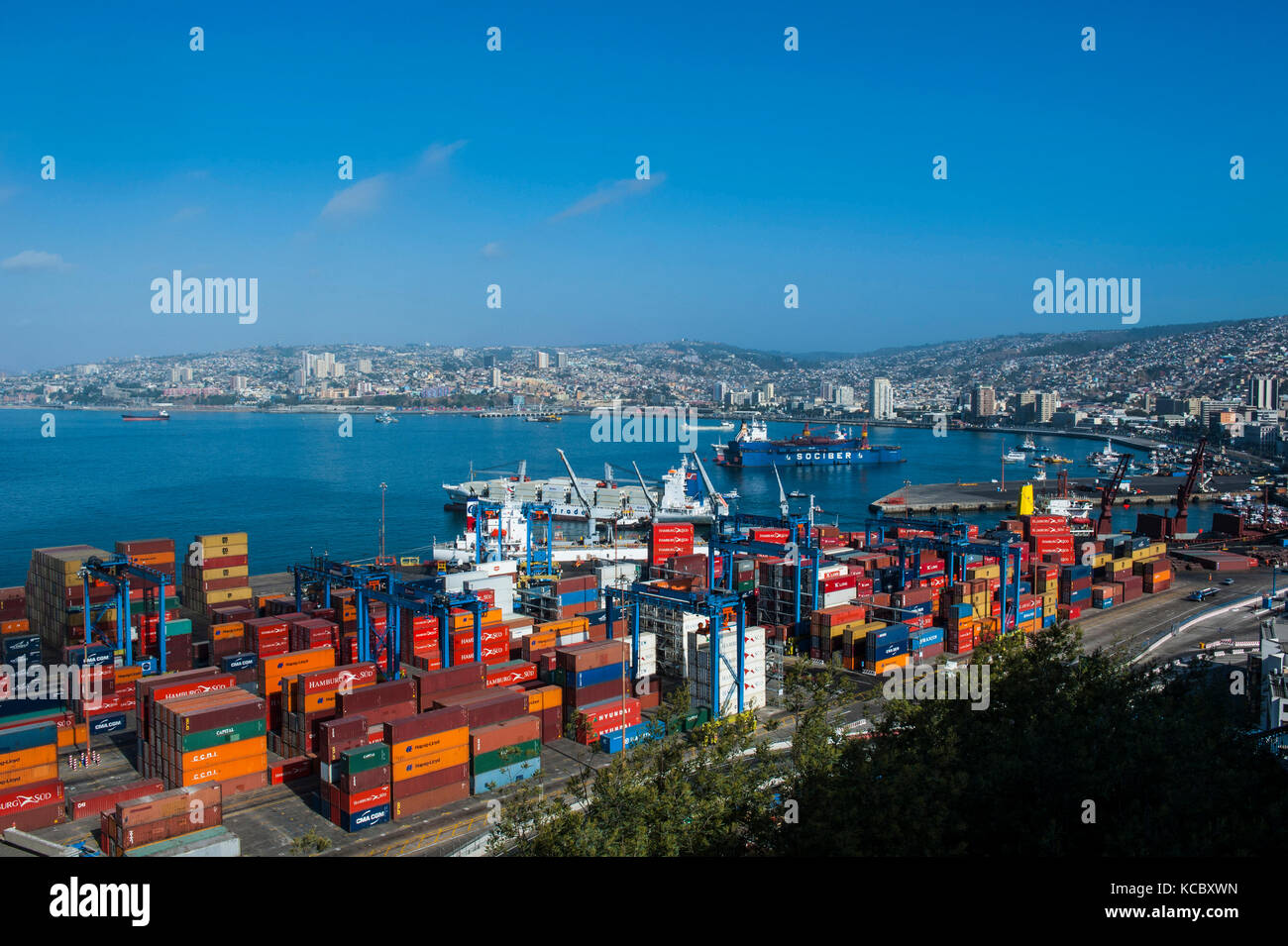 Overlook over the cargo port, Valparaiso, Chile - Stock Image