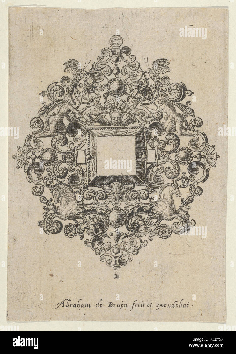 Vertical Panel with Design for a Mirror, attributed to Abraham de Bruyn, 1580–1600 Stock Photo