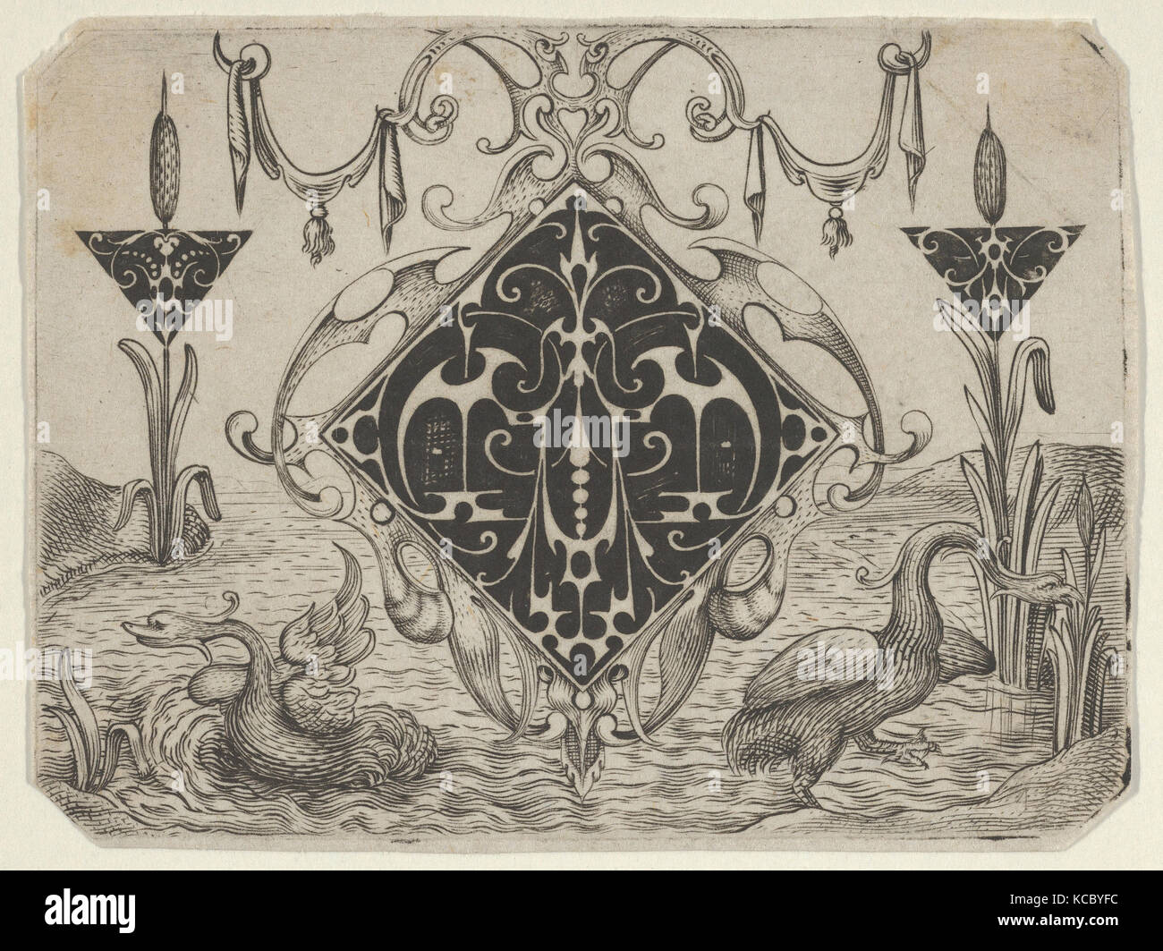 Lozenge-shaped Pendant and Two Triangular Motifs in a Riverscape, 1622 - Stock Image