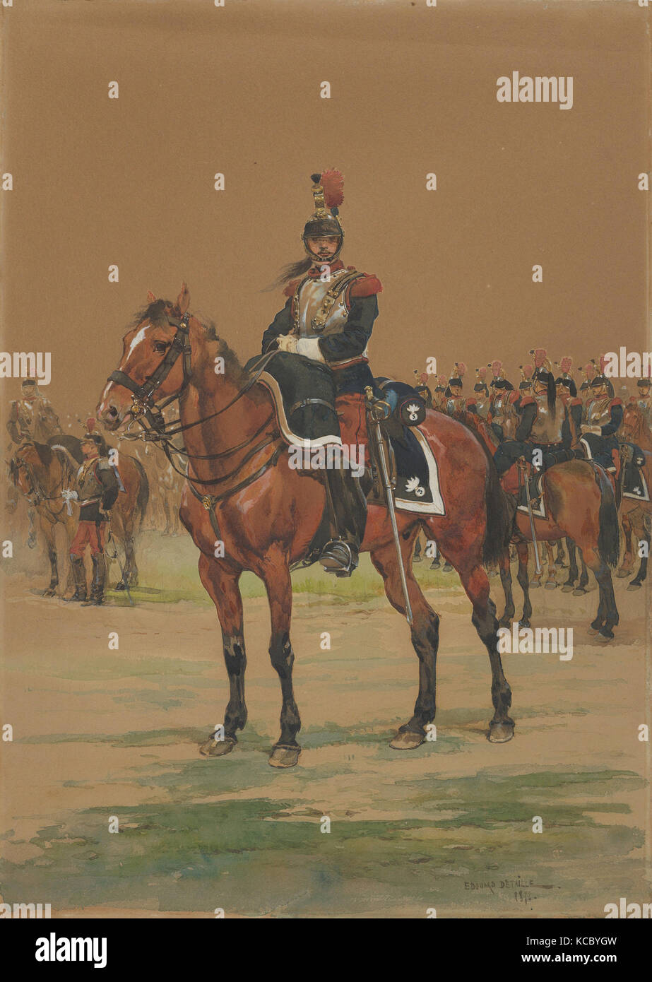 French Cuirassier, 1872, Watercolor, Sheet: 13 3/4 x 9 3/4 in. (34.9 x 24.8cm), Drawings Stock Photo
