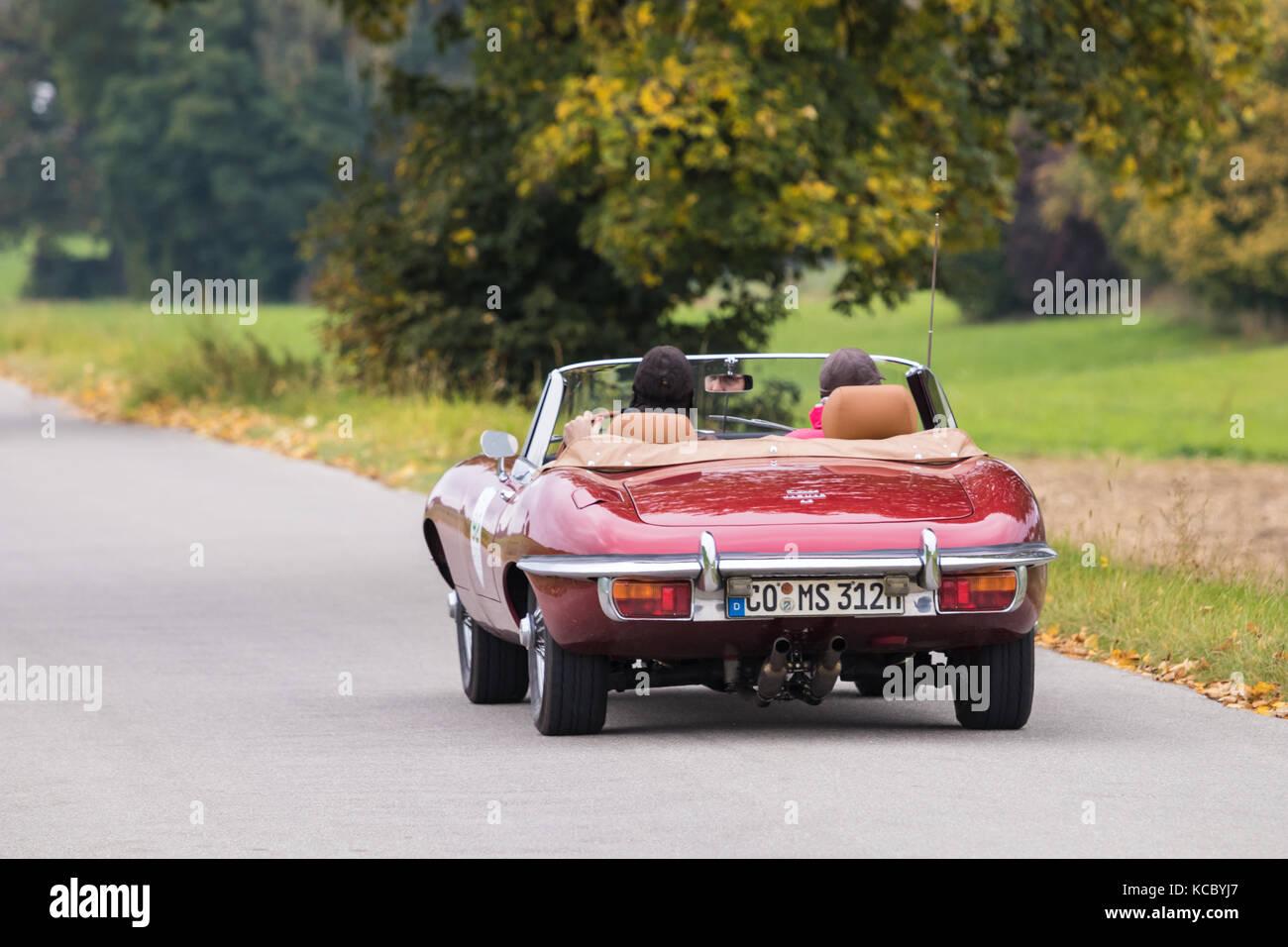 Augsburg, Germany - October 1, 2017: Jaguar E-Type oldtimer car at the Fuggerstadt Classic 2017 Oldtimer Rallye - Stock Image