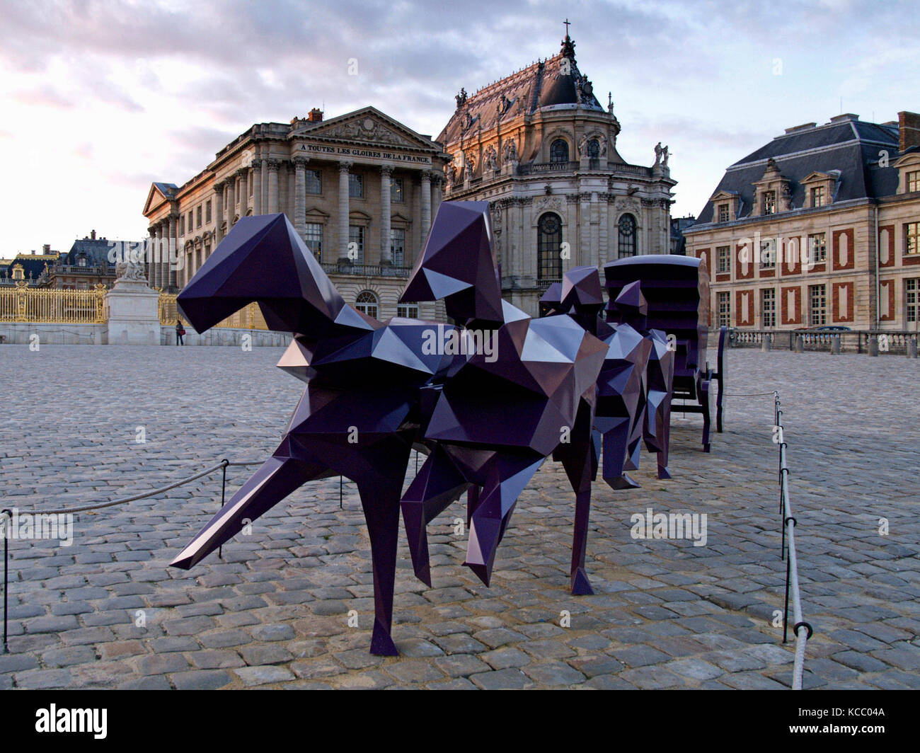 VERSAILLES FRANCE - XAVIER VEILHAN -  HORSES COACH - CHATEAU DE VERSAILLES - CONTEMPORARY ART- VERSAILLES CASTLE Stock Photo