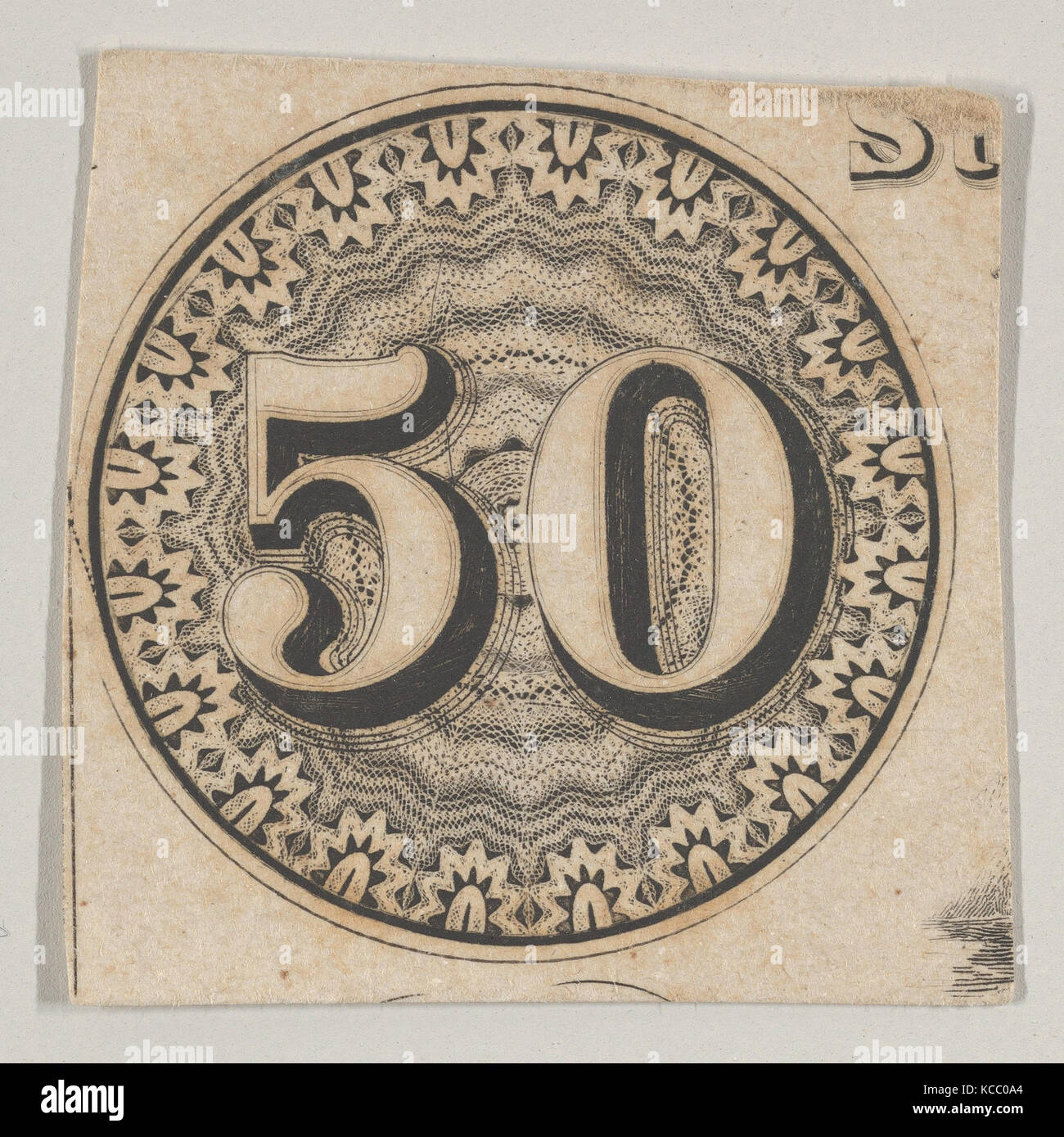 Banknote motif: the number 50 against an ornamental lathe work rondel resembling lace, Associated with Cyrus Durand, - Stock Image