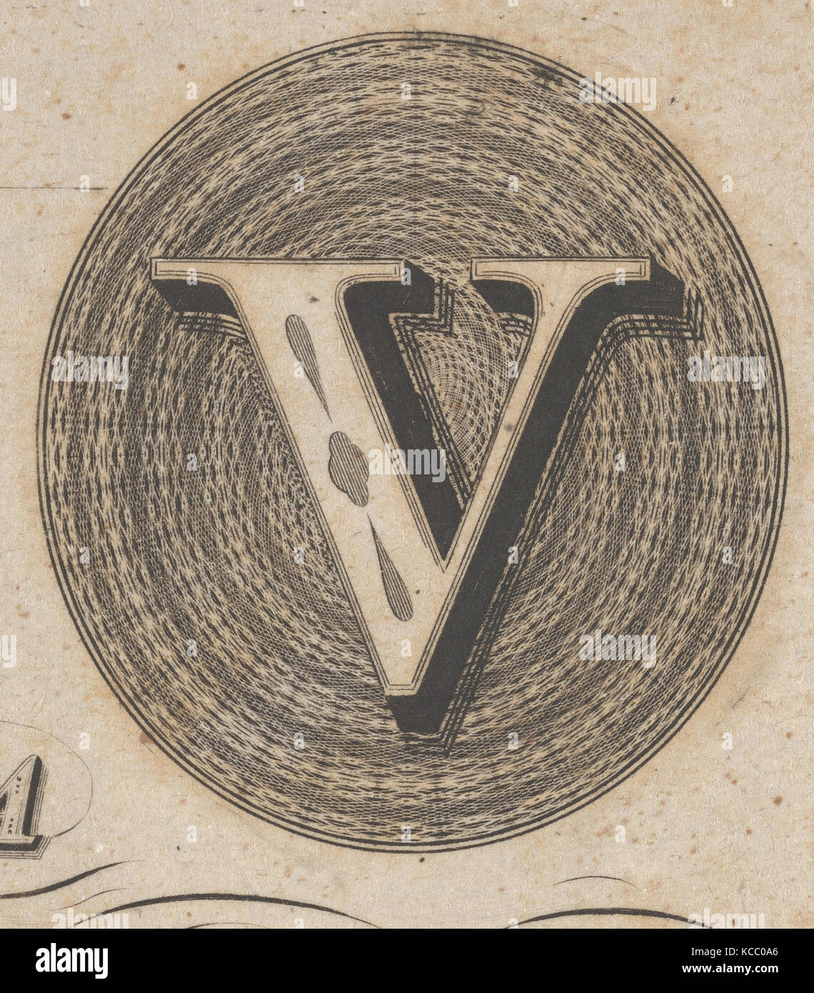 Banknote motif: capital V within an oval containing basket-like lathe work, Associated with Cyrus Durand, ca. 1824–42 - Stock Image