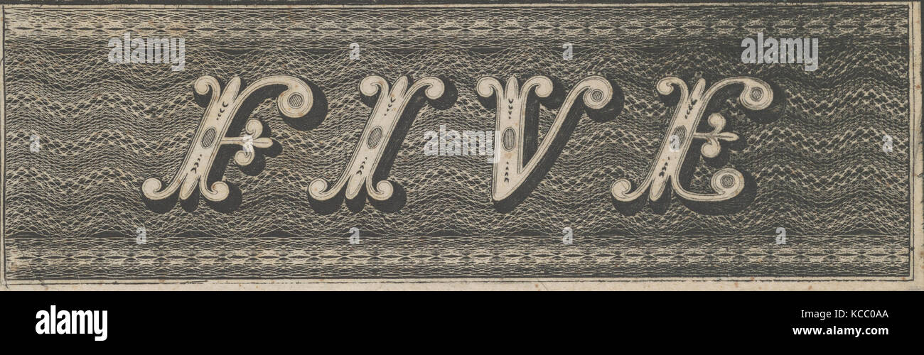 Banknote motif: the word FIVE against a rectangle of ornamental lathe work resembling wavy woven bands, Associated - Stock Image