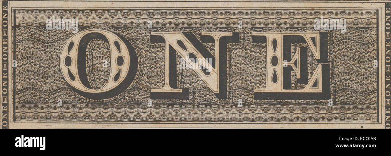 Banknote motif: the word ONE set against a rectangular band of lathe work, Associated with Cyrus Durand, ca. 1824–42 - Stock Image