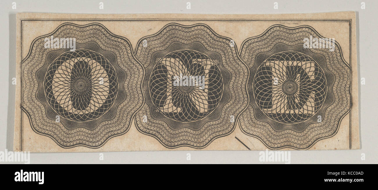 Banknote motif: the word ONE with each letter set against a circle of lathe work, Associated with Cyrus Durand, - Stock Image