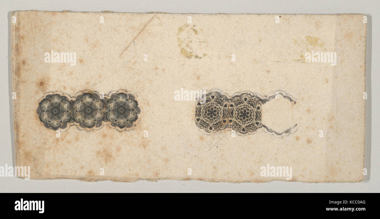Banknote motif: two bands of ornamental lathe work resembling florets and hexagons, Associated with Cyrus Durand, - Stock Image
