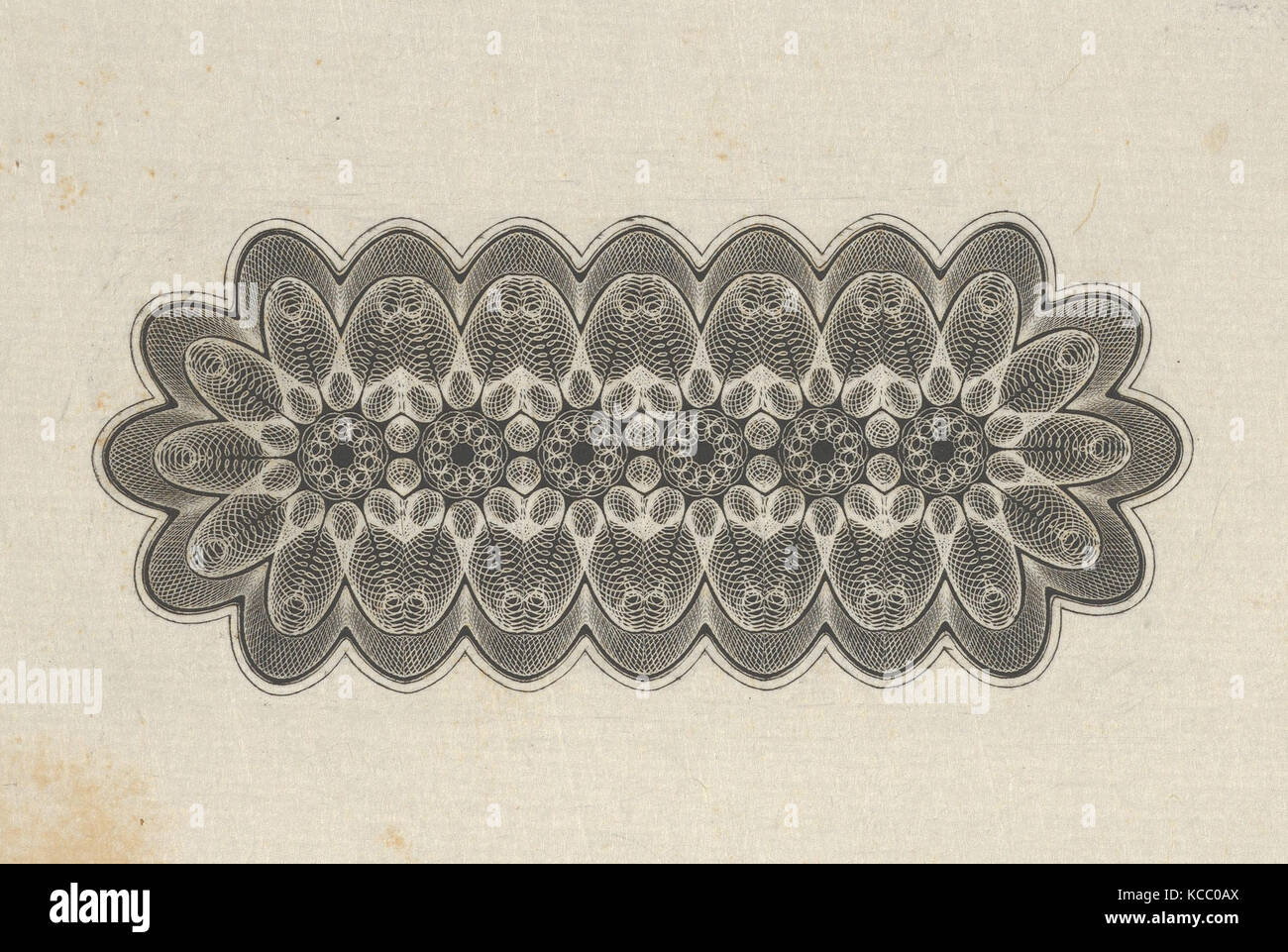 Banknote motifs: panel of lathe work ornament with rounded ends, with a repeating floral pattern, Associated with - Stock Image