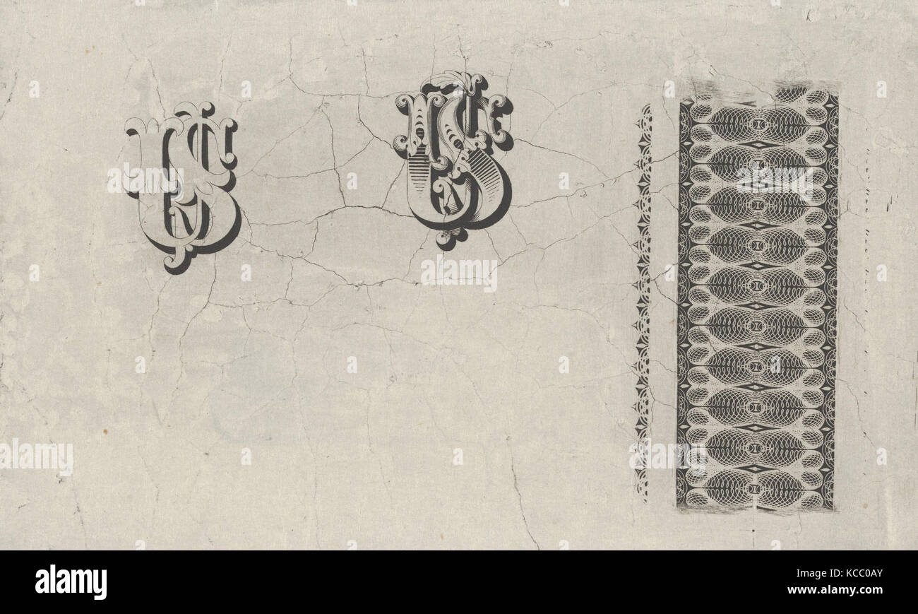 Banknote motifs: band of lathe work ornament and two monograms using the letters U.S., Associated with Cyrus Durand, - Stock Image