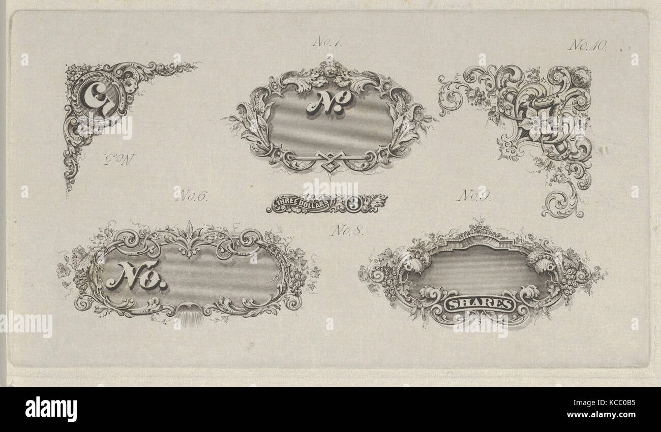 Banknote motifs: six small lathe work designs for corners, frames and numbers, Associated with Cyrus Durand, ca. - Stock Image