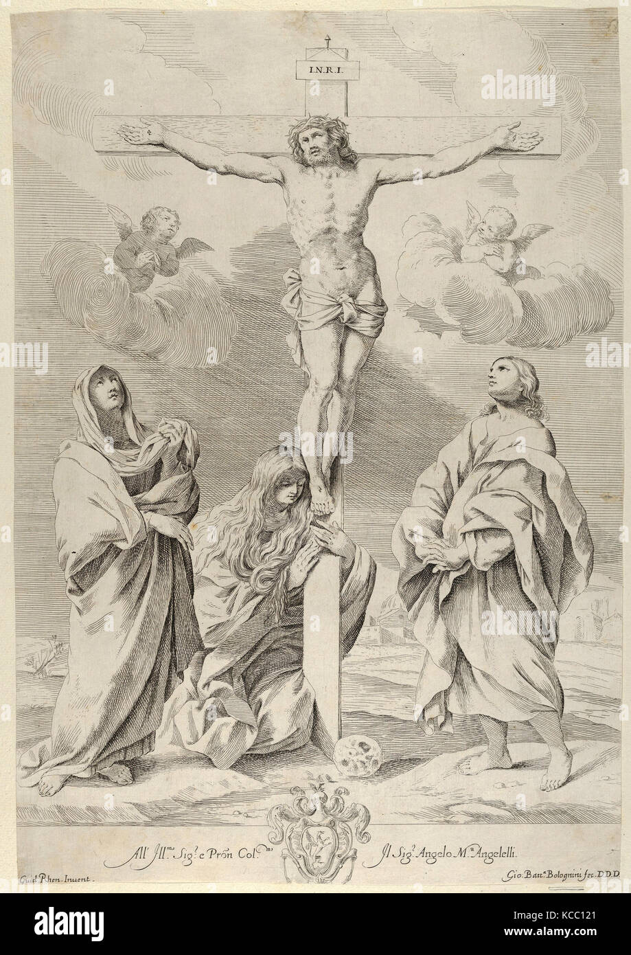 Christ on the cross, Saint John the Baptist at right, Mary Magdelene and the Virgin at left, after Reni - Stock Image