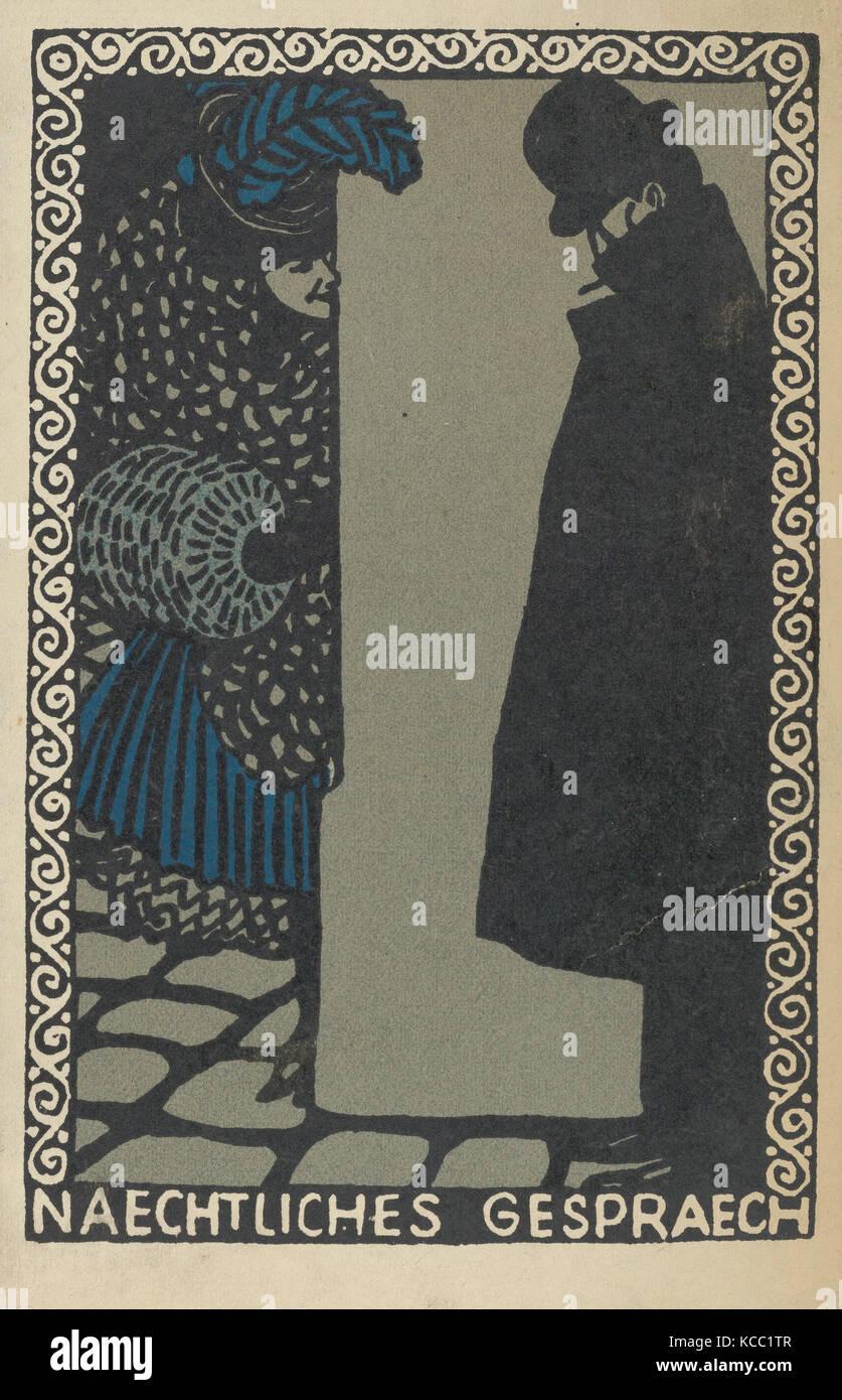 Nightly Conversations (Naechtliches Gespraech), Moriz Jung, 1907 - Stock Image