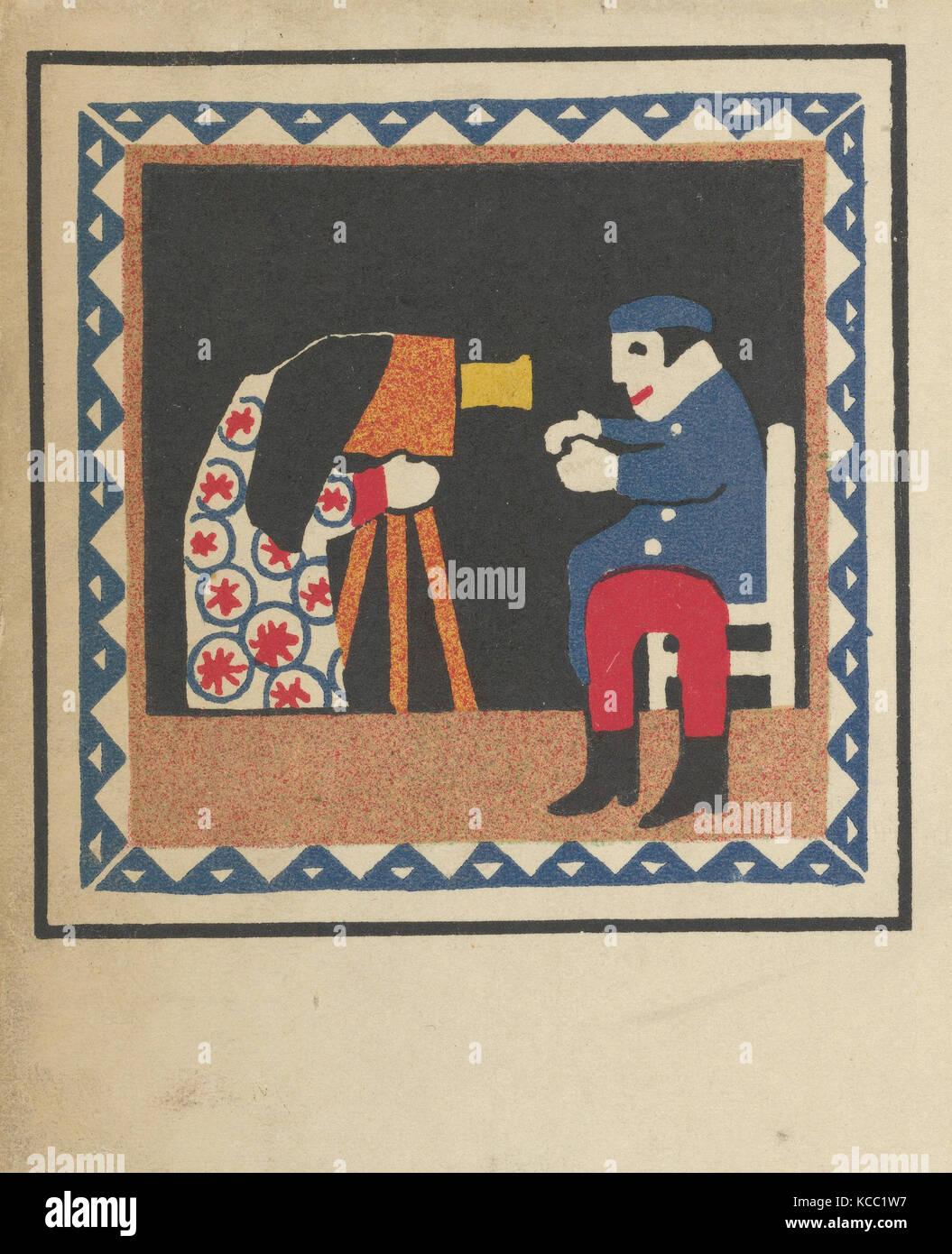 Kasperltheater, 1907, Color lithograph, sheet: 5 9/16 x 3 7/16 in. (14.1 x 8.7 cm), Prints, Hans Kalmsteiner (Austrian, - Stock Image