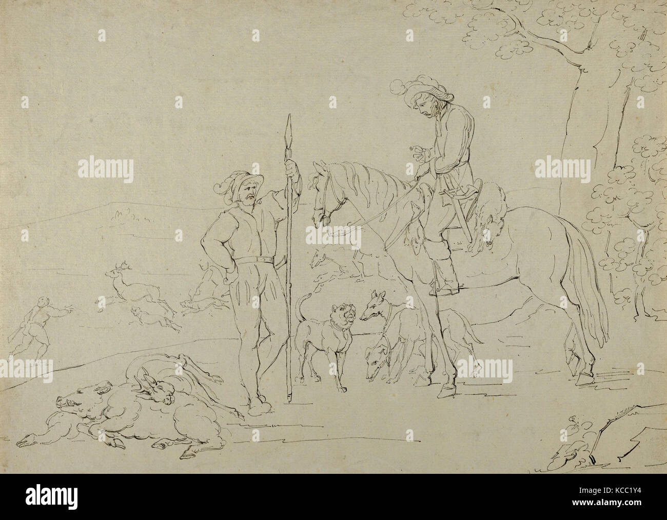 Drawings And Prints Drawing Medieval Hunting Scene Artist Former Attribution Franz