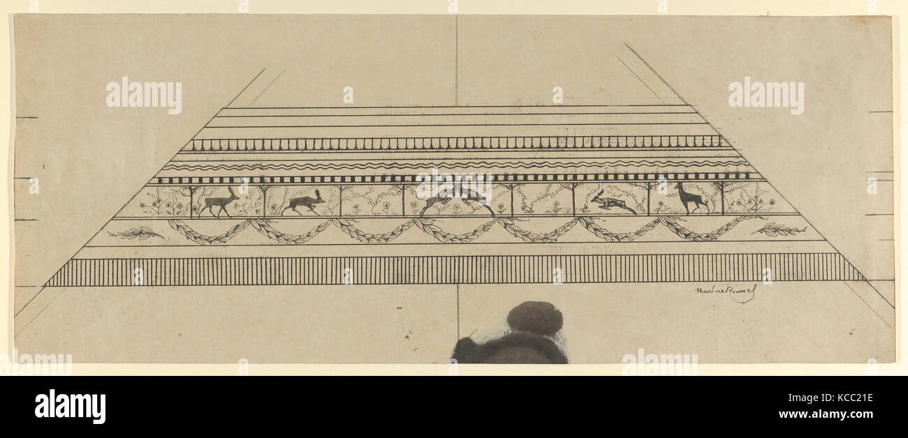 Stag and Flower Pattern Frame, 1897–99, Etching and softground, Sheet: 8 3/8 × 21 in. (21.2 × 53.4 cm), - Stock Image