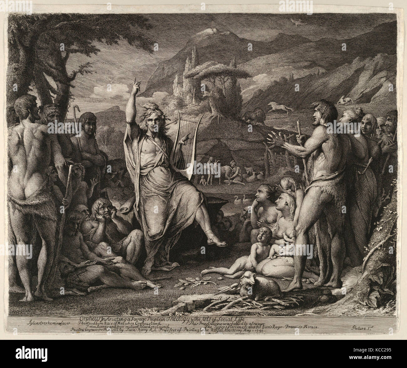 Drawings and Prints, Print, Orpheus Instructing a Savage People in Theology and the Arts of Social Life, Artist, - Stock Image