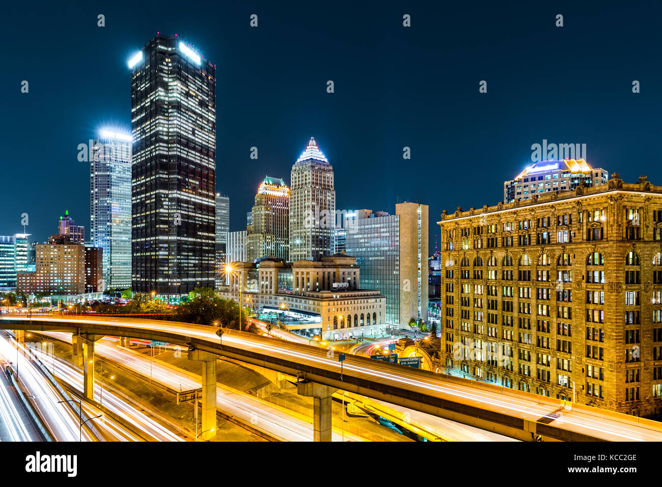 Rush hour traffic trails in downtown Pittsburgh, Pennsylvania. Stock Photo