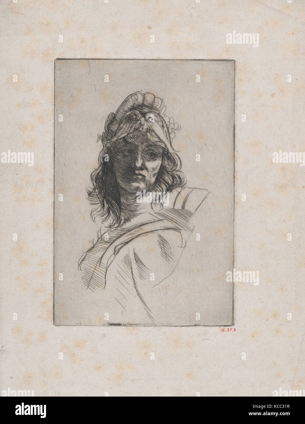 Bust of Bellona, 1882–85, Drypoint, third state of three, before bevelled plate, plate: 5 3/4 x 3 15/16 in. (14.6 - Stock Image