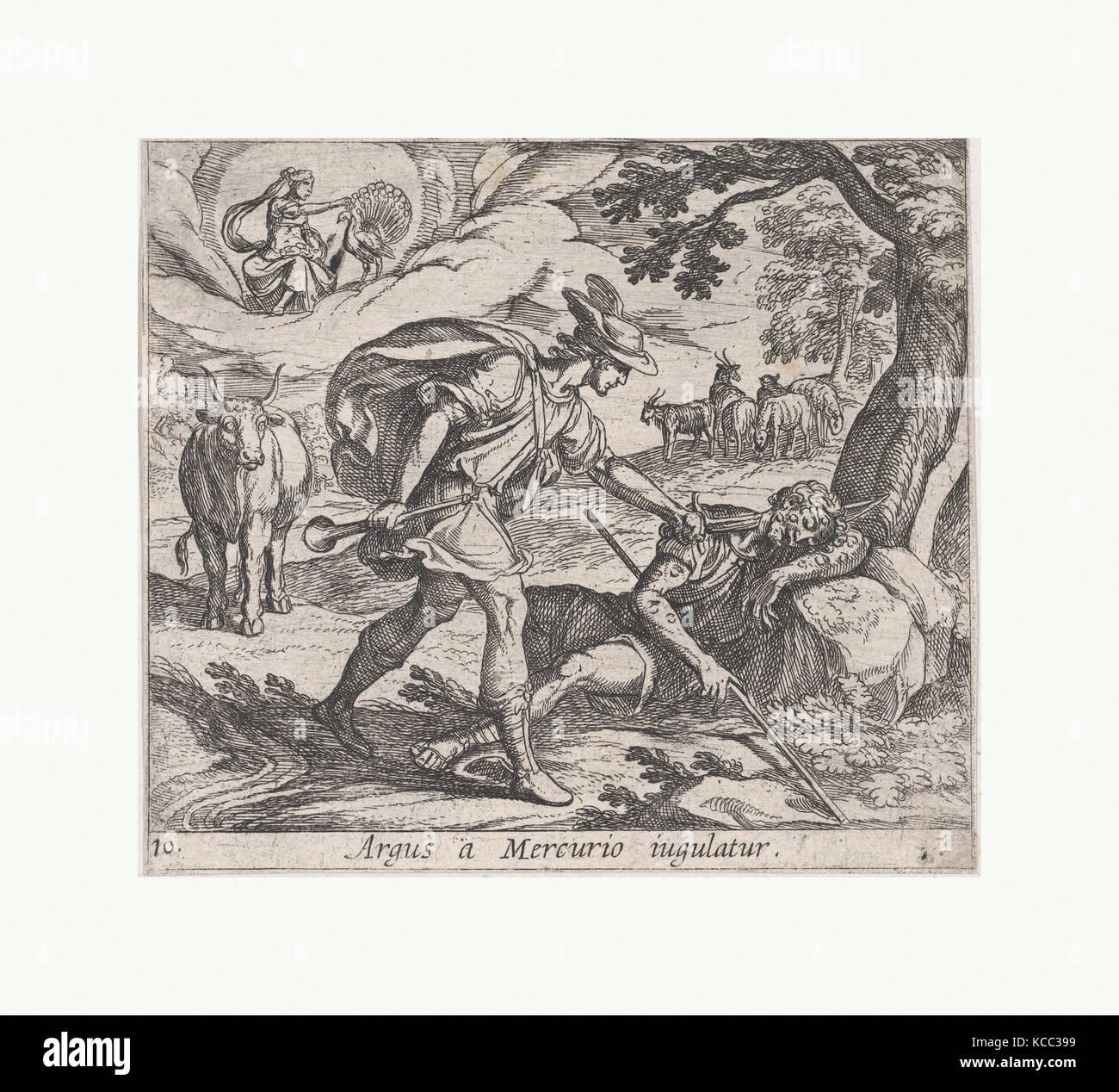 Plate 10: Mercury Killing Argos (Argus a Mercurio iugulatur), from Ovid's 'Metamorphoses', Antonio Tempesta, 1606 Stock Photo