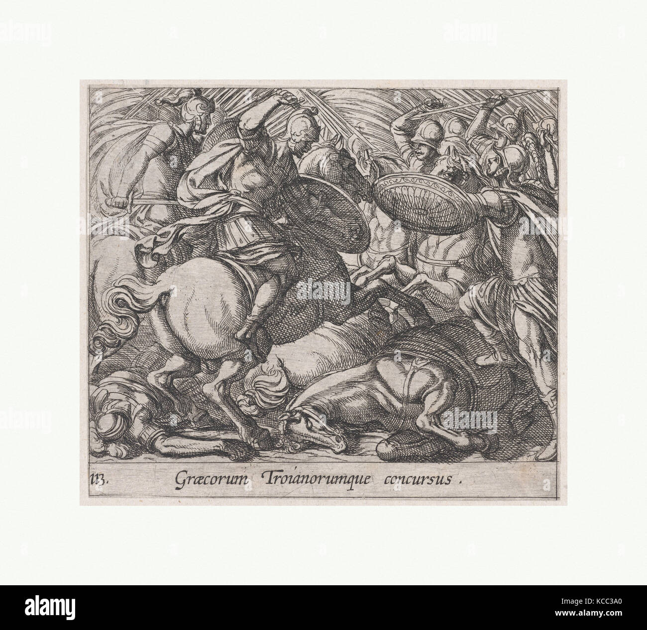 Plate 113: The Greeks Battling the Trojans (Graecorum Troianorumque concursus), from Ovid's 'Metamorphoses', - Stock Image