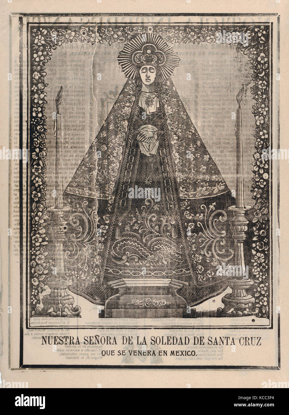 Broadsheet with image of Our Lady of Solitude of Santa Cruz, venerated in Mexico, José Guadalupe Posada (Mexican, Stock Photo