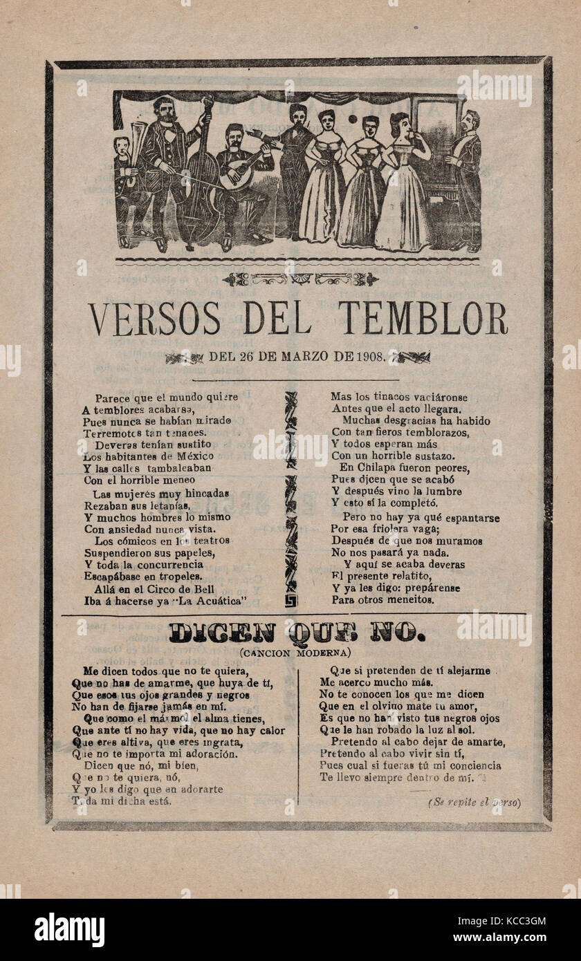 Broadsheet with songs relating to the earthquake that occurred on March 26, 1908, José Guadalupe Posada (Mexican, - Stock Image