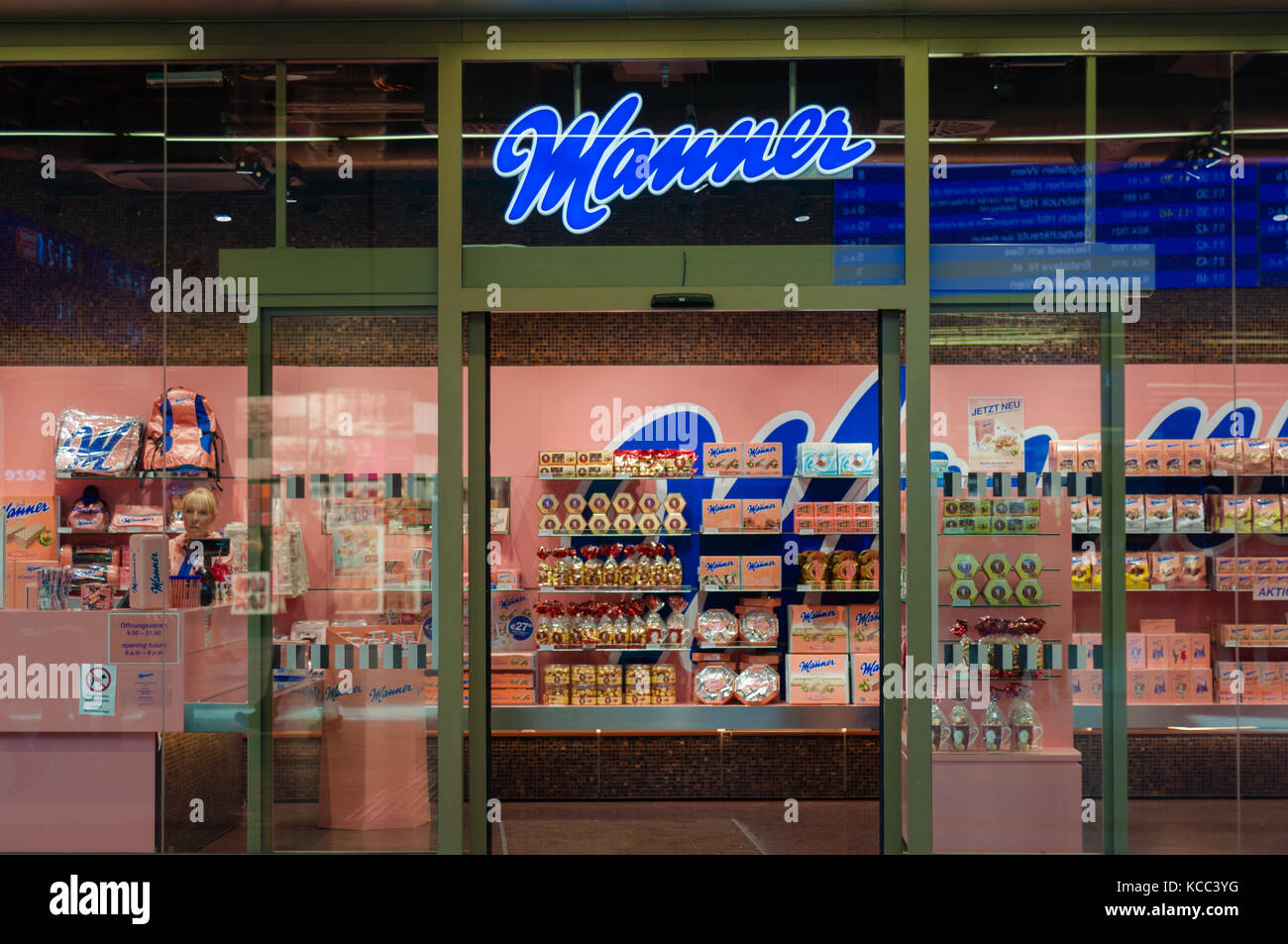 Manner store in the Central station, Vienna. The Original Neapolitan Wafers are the best selling product and have - Stock Image