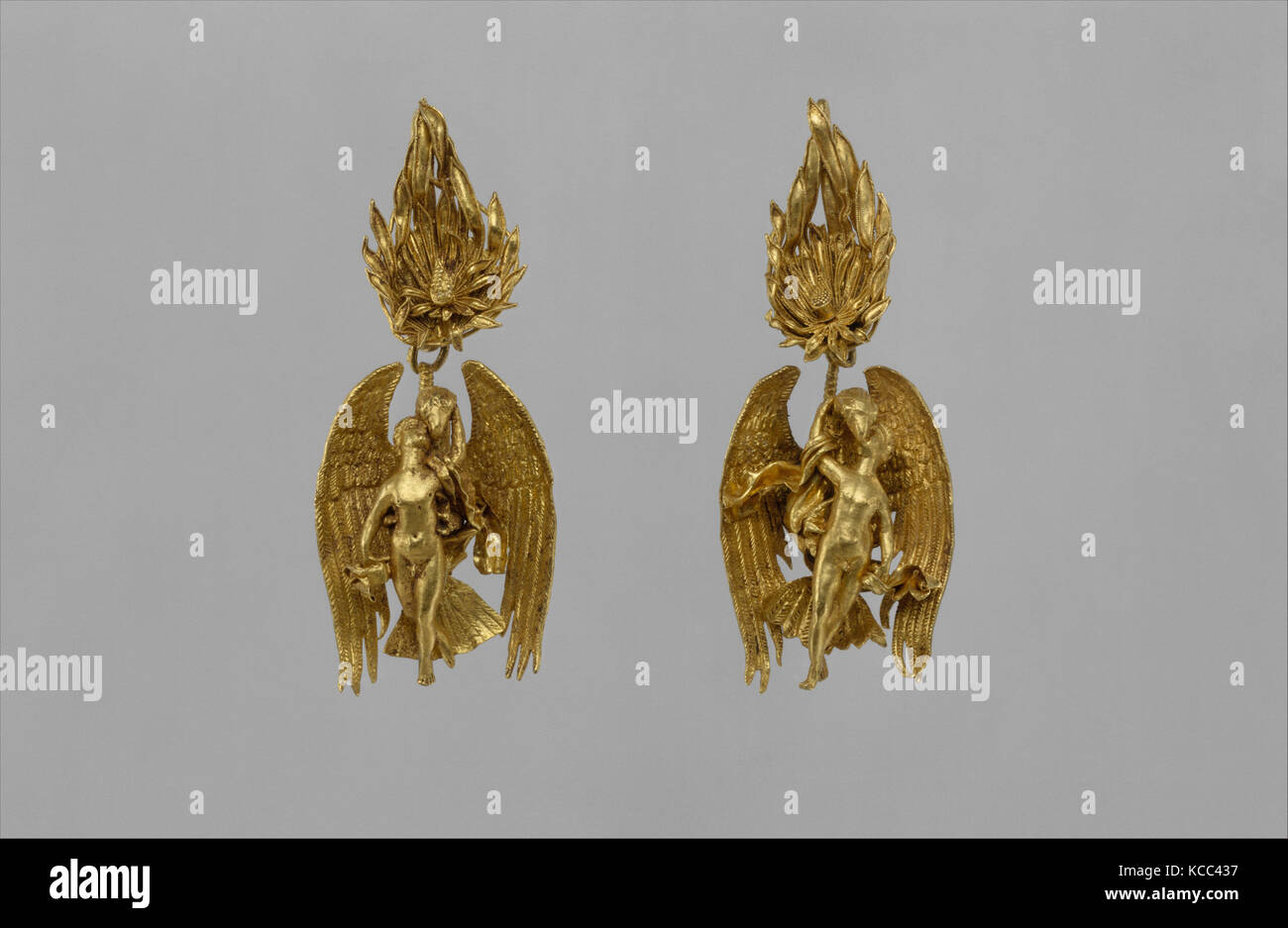 Pair of gold earrings with Ganymede and the eagle, ca. 330–300 B.C - Stock Image