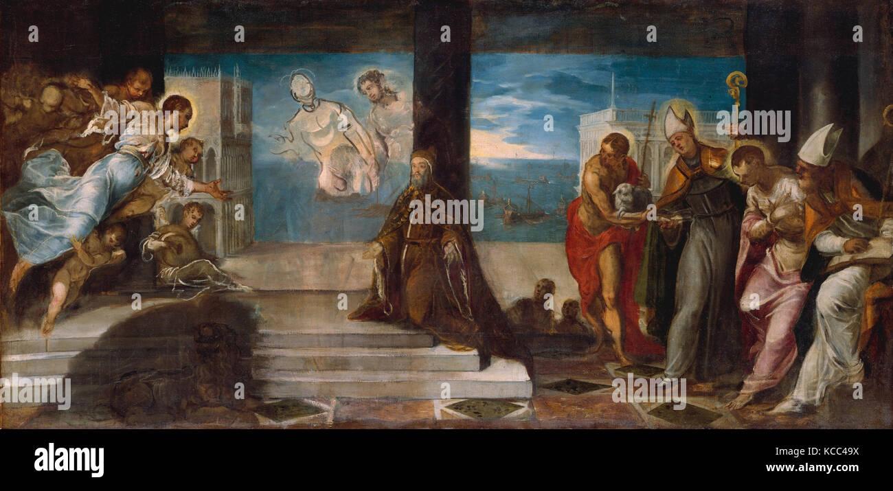 Doge Alvise Mocenigo (1507–1577) Presented to the Redeemer, Jacopo Tintoretto, probably 1577 Stock Photo