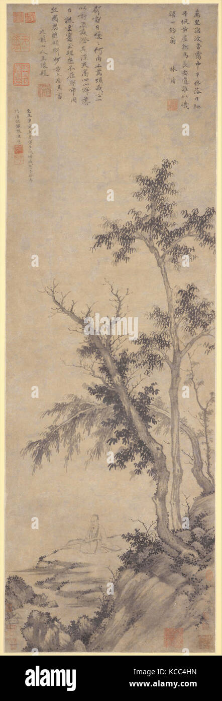 元  盛懋  秋林漁隱圖  軸, Recluse Fishing by Autumn Trees, Sheng Mou, dated 1350 - Stock Image