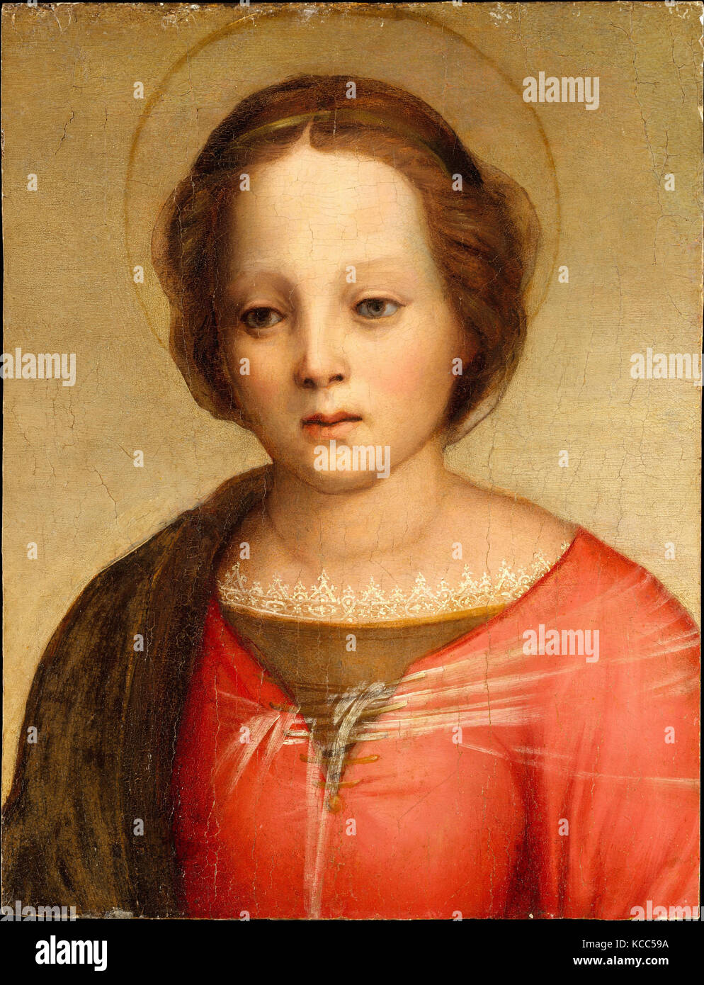 Head of the Madonna, ca. 1509, Oil on wood, 15 x 11 1/2 in. (38.1 x 29.2 cm), Paintings, Franciabigio (Francesco Stock Photo