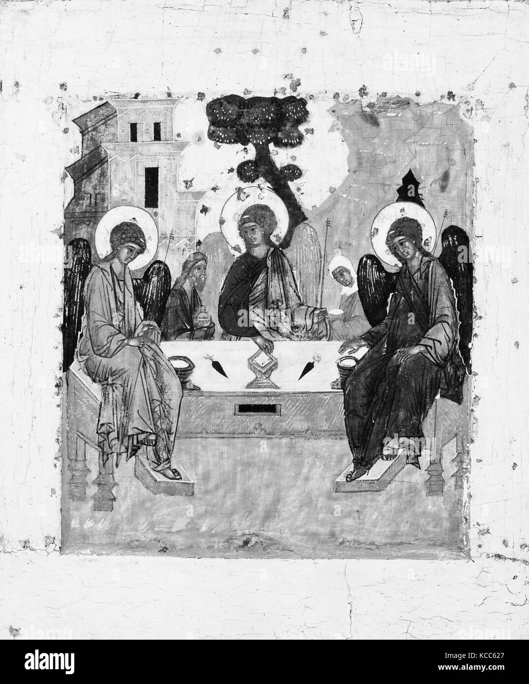 The Trinity, Tempera on wood, 12 7/8 x 10 5/8 in. (32.7 x 27 cm), Paintings, Russian Painter (possibly 17th century - Stock Image