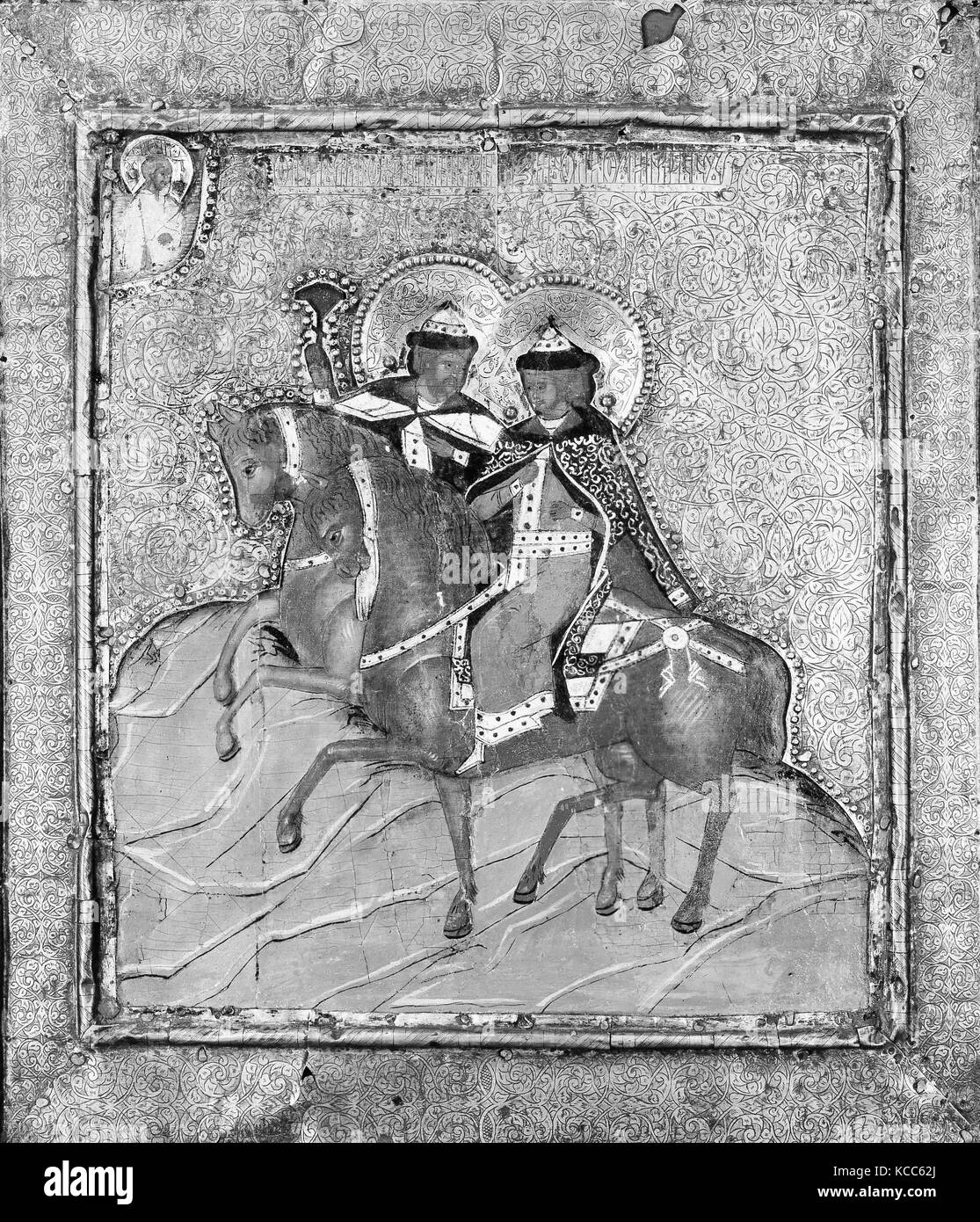 Saints Boris and Gleb, Tempera on wood, silver and silver-gilt cover, 12 1/2 x 10 5/8 in. (31.8 x 27 cm), Paintings, - Stock Image