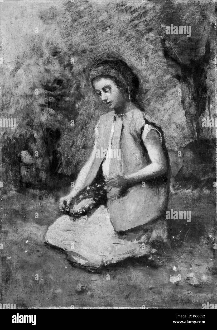 Girl Weaving a Garland, 1860–65, Oil on canvas, 16 1/2 x 11 3/4 in. (41.9 x 29.8 cm), Paintings, Camille Corot (French, - Stock Image