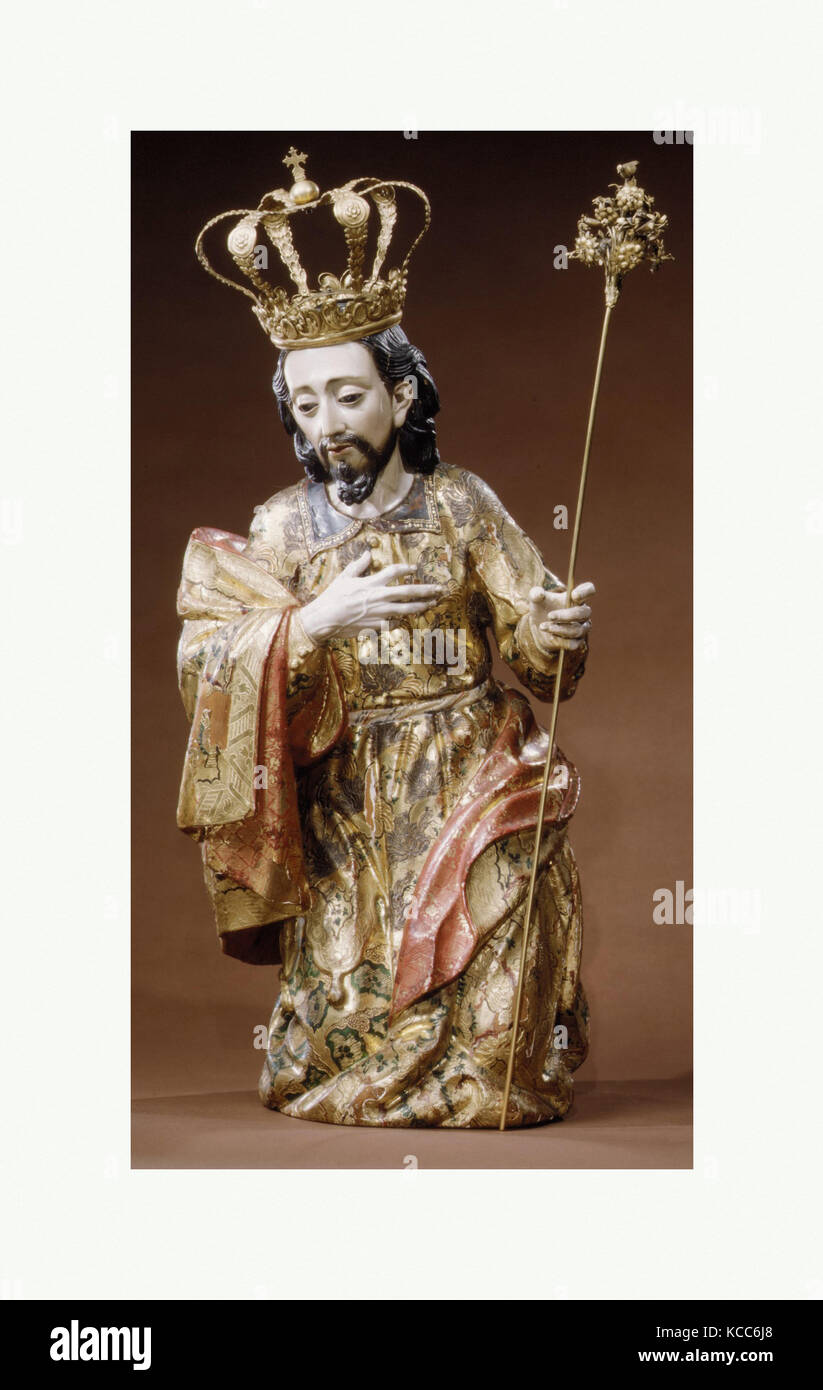 Joseph (from a nativity), 18th century, Formerly considered made in Mexico; Made in Guatemala, Guatemalan, Wood, - Stock Image
