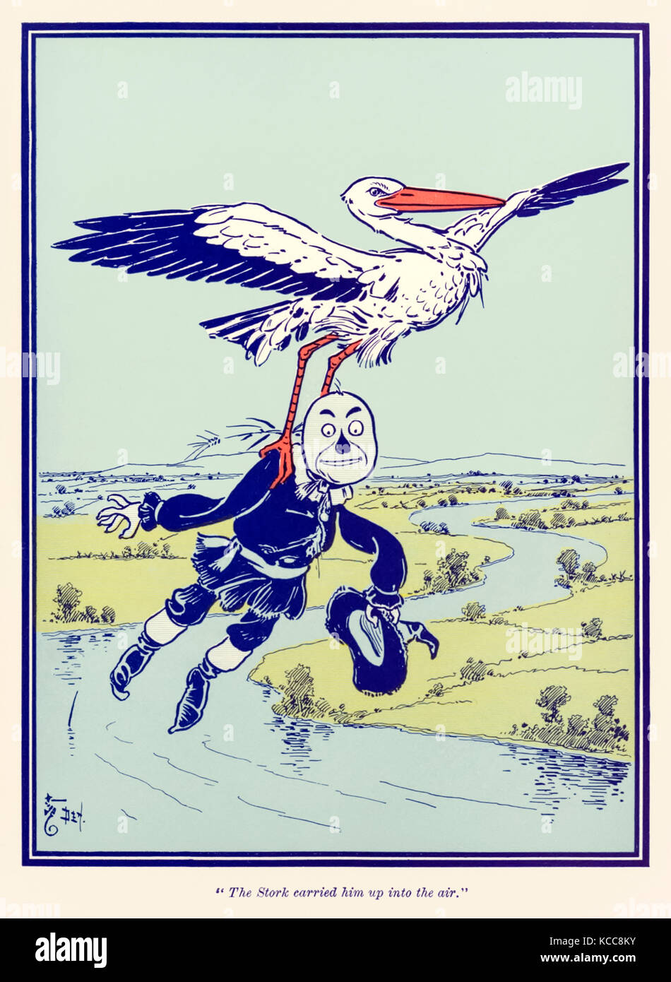"""The Stork carried him up into the air."" from 'The Wonderful Wizard of Oz' by L. Frank Baum (1856-1919) with pictures - Stock Image"