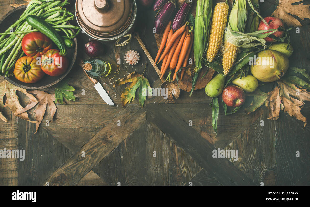Fall healthy cooking background, copy space, wide composition - Stock Image