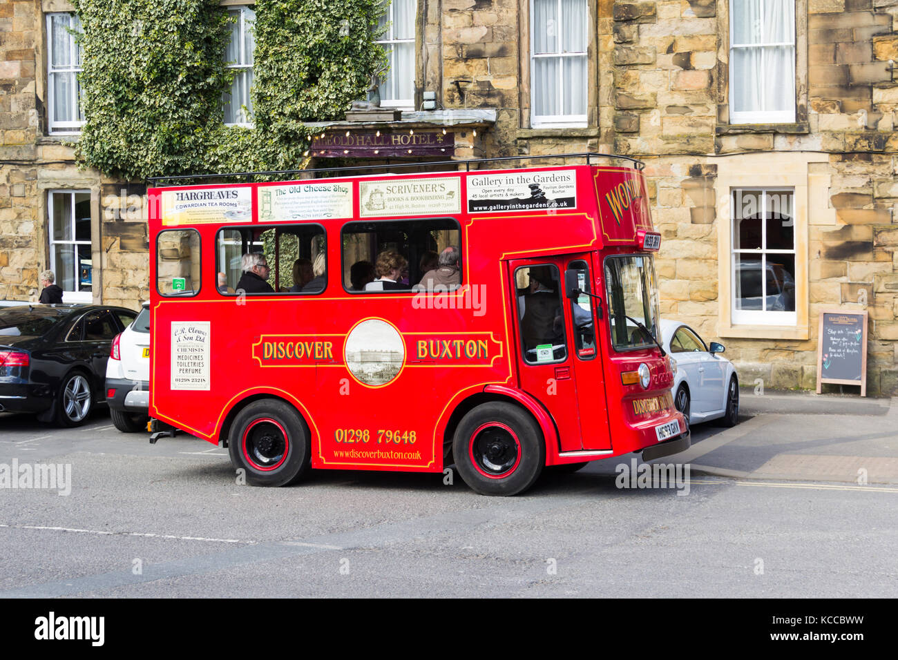 Discover Buxton mini tram tour visitor attraction. This eight-seater electric vehicle, marketed as a a mini Victorian - Stock Image